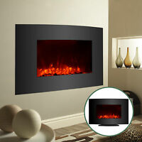 "35""x22"" Large 1500W Electric Fireplace Wall Mount & Free Standing Heater with RC"