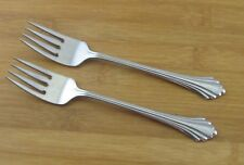 "2 Two Oneida Bancroft Salad Forks Fork 6 3/4"" Glossy Stainless Flatware USA"