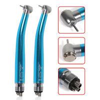 2*NSK Style Dental High Speed Air Turbine Handpiece Push Button 4H Light Blue
