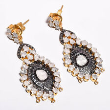 925 Silver Natural Rose Cut Pave Diamond Gemstone Victorian Handmade Earrings