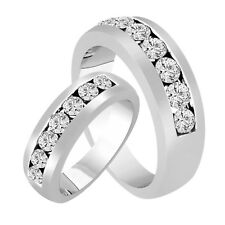 His & Hers Diamond Wedding Rings, Bands 14K White Gold 1.54 Carat Handmade Canal