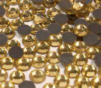 350 Hotfix Strasssteine 4mm SS16 GELB GOLD GLAS STRASS Bügelsteine BEST 33