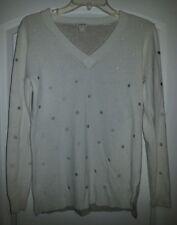 Womens J. Crew White And Gray V-Neck Polka Dot Sweater Size Medium Light Weight