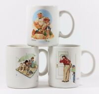 Vintage Collectible Norman Rockwell Museum Collections Coffee Mug Cup Set 3