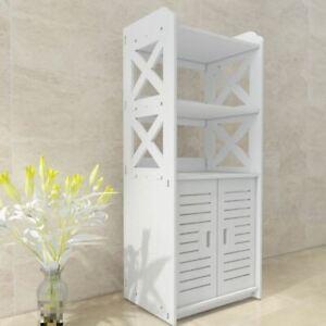 Large White Wooden Bathroom 2 Door Cabinet Shelf Cupboard Bedroom Storage Unit