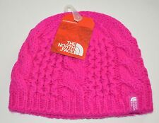 the north face youth girls luminous pink cable knit minna beanie medium