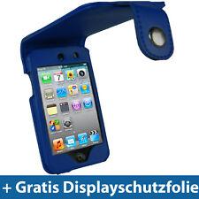 Azul PU Cuero Bolso de protección para Apple iPod Touch 4g 4te gen 8/32/64gb, funda protectora, funda