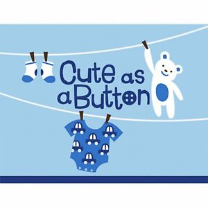 Cute as a Button Boy Clothesline Teddy Bear Baby Shower Party Invitations Cards