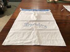 "ANTIQUE / VINTAGE WHITE FEEDSACK LAUNDRY BAG Embroidered ""Linen"" Drawstring"