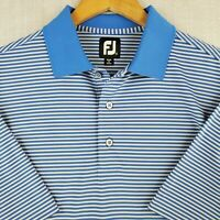 FOOTJOY Medium Mens Light Blue Stripe Polo Golf Shirt Stretchy Breathable FJ
