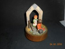 Antique Anri Hand Carved Wood Music Box Plays People