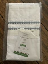1 Pottery Barn*Pearl Embroidered*Organic Blue Pillow Sham Standard