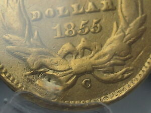 1855-C $1 Gold Indian Princess One Dollar Coin- PCGS Certified, Rare Charlotte