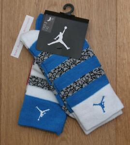 Air Jordan Boy 2 Pr Crew Socks ~Blue, White, Gray & Black ~ 5Y-7Y ~ Sock Sz 9-11