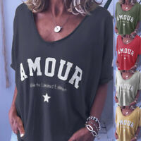 Womens Casual Blouse Baggy Short Sleeve Shirt Loose Ladies Pullover Tee Tops UK