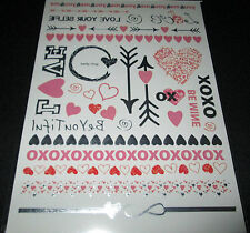 Metallic Temporary Tattoos NEW Love & Madness Hearts Red Silver Pink Valentine's