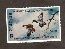 MS2 - Mississippi  State Duck Stamp. MNH OG. Single.#02 MS2