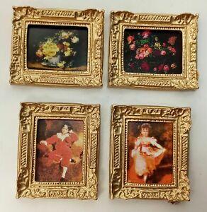 4 St. Miniatur Bilder. Für 1:12 Puppenhaus. Rahmen goldfarbig. je 5x6 cm