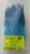 """50 HERON FEATHERS """" SPEY """" Dyed ( Kingfisher Blue ) Size= 21/2 """" -  4 """""""