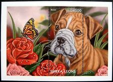1997 MNH SIERRA LEONE DOG STAMPS SOUVENIR SHEET BOXER DOGS CANINE BUTTERFLY