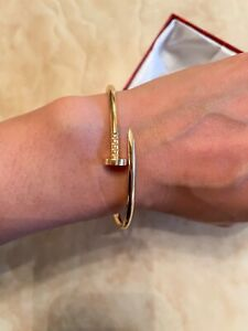Cartier Nail Bangle Similar Genuine Gold Size 17