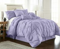 Chezmoi Collection Sydney 7-Piece Lavender Pinch Pleated Pintuck Comforter Set