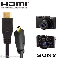 Sony WX350, WX220, RX100 III, HX400 Camera HDMI Micro TV Monitor 1.8m Cable