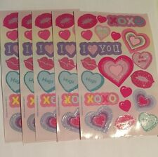 Sandylion Valentine's Day Stickers lot of 9 Sheets 4 X 6