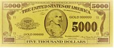 24K Gold 5,000 Dollar Novelty Banknote As Pictured New Condition