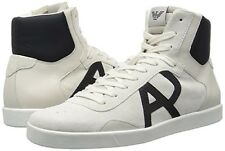 Armani Jeans Mens Classic AJ Logo High Top Sneakers White US 8 EU 41 NEW IN BOX