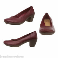 c4d661d95 LADIES WOMENS CLARKS EMERSON JAZZ RED LEATHER COMFORTABLE HIGH HEELS WORK  SHOES