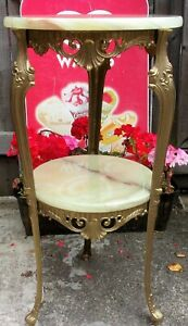 Vintage SOLID Onyx Table ~2 Tier ~Gold Baroque~Occasional Hall Plant Tall 75cm