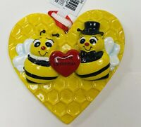 Kurt Adler Yellow Resin Our First Christmas Honey Bee Couple Ornament