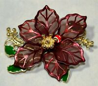 New Merry Christmas Pointsettia Flower Red Green Enamel Gold Brooch Pin 11N 27