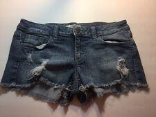 2.1 DENIM Size Medium Distressed Stretch Fringed Blue Jean Shorts   A28