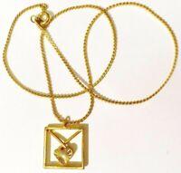 pendentif chaîne bijou vintage finement travaillé cœur relief couleur or * 4257