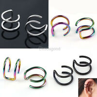 Pair 16G Stainless Steel 2-ring Ear Stud Cuff Clip On Fake Earring Non Piercing