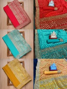 Bandhani Saree Sequences Embroidery Work Party Wedding Designer Women Sari