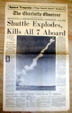 2 1986 display headline DISASTER newspapers Space Shuttle CHALLENGER Explodes