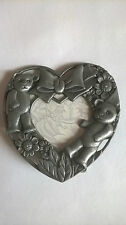 HEART SHAPED TEDDY BEAR PHOTO FRAME METAL PEWTER COLOURED 2 BEARS BOW FLOWERS