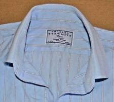 Charles Tyrwhitt Azul y Blanco Algodón Camisa Tamaño 17 Single Puño Jermyn Street