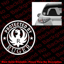Protected By Ruger Firearms Car Window/Phone Vinyl Die Cut Decal Sticker FA084