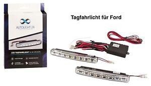 Tagfahrlicht 16 POWER SMD LED + R87 Modul E-Prüfzeichen DRL 6000K für Ford TFL5