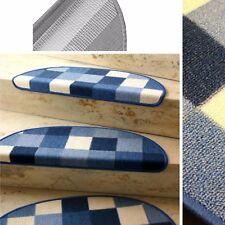 """Escaleras - Estera """"Parche Azul"""" semicircular 65x23 CM CON SOPORTES DE METAL"""