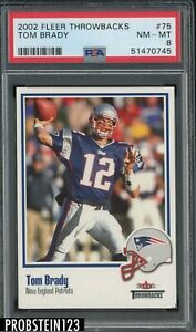 2002 Fleer Throwbacks #75 Tom Brady New England Patriots PSA 8 NM-MT