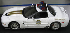 Maisto 1/18 2001 Chevy Corvette Z06 State Trooper Police Car - Unique Cruiser