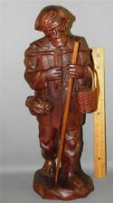 ANTIQUE CARVED WOOD WALNUT FIGURAL LARGE TRAVELING MAN STATUE SCULPTURE