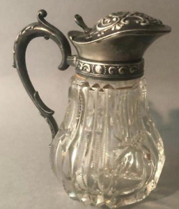 Antique Cut Glass Creamer with Unmarked Silver Plated Lid and Handle
