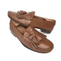 BALLY Men's Brown Calfskin Moc Toe Tassel Loafers SlipOn Size 10 W Made in ITALY