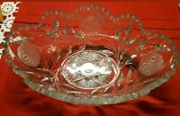 VINTAGE CUT GLASS LEAD CRYSTAL ♡ OVAL SERVING BOWL DISH STARBURST SAW TOOTH EDGE